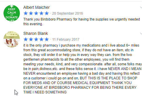 Birdsboro Pharmacy Reviews