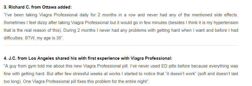 Viagra Professional Customer Reviews