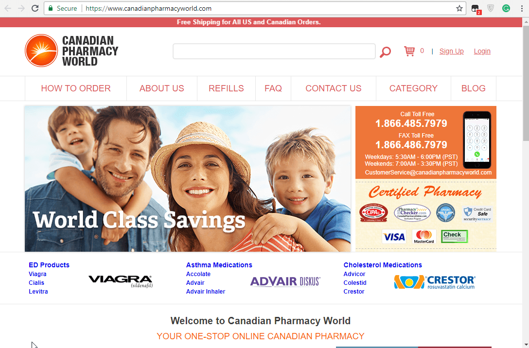 Canadian Pharmacy World Homepage