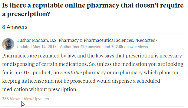 Non-Prescription Online Pharmacy Testimonial