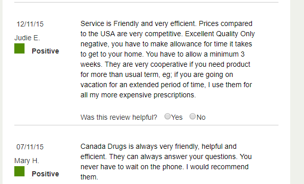Canadian Pharmacy Online User Reviews (source: https://www