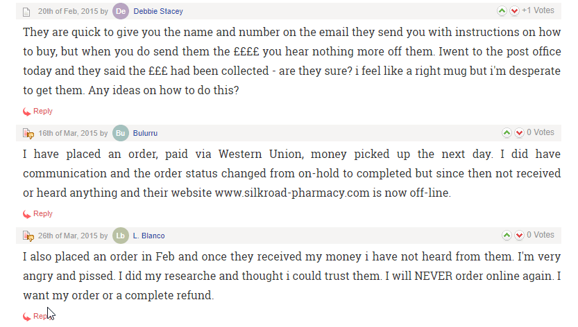 Silkroad Pharmacy User Testimonials