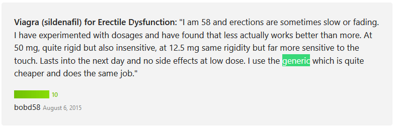 A 58-year-old buyer also wrote a good review for the generic Sildenafil treatment and mentioned that the drug is considerably cheaper but can also get the job done